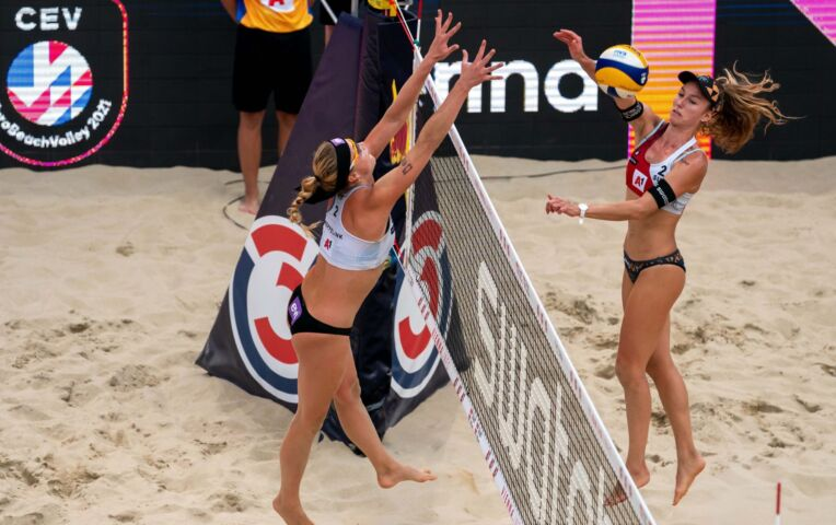 Highlights EK Beachvolleybal - Nederland - Zwitserland - Meppelink / Keizer